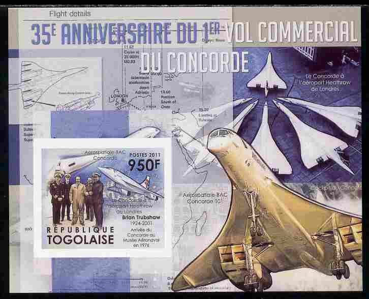 Togo 2011 35th Anniversary of 1st Commercial Flight of Concorde #3 imperf deluxe sheet unmounted mint. Note this item is privately produced and is offered purely on its t...