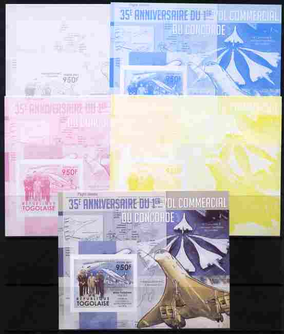 Togo 2011 35th Anniversary of 1st Commercial Flight of Concorde #3 deluxe sheet - the set of 5 imperf progressive proofs comprising the 4 individual colours plus all 4-colour composite, unmounted mint