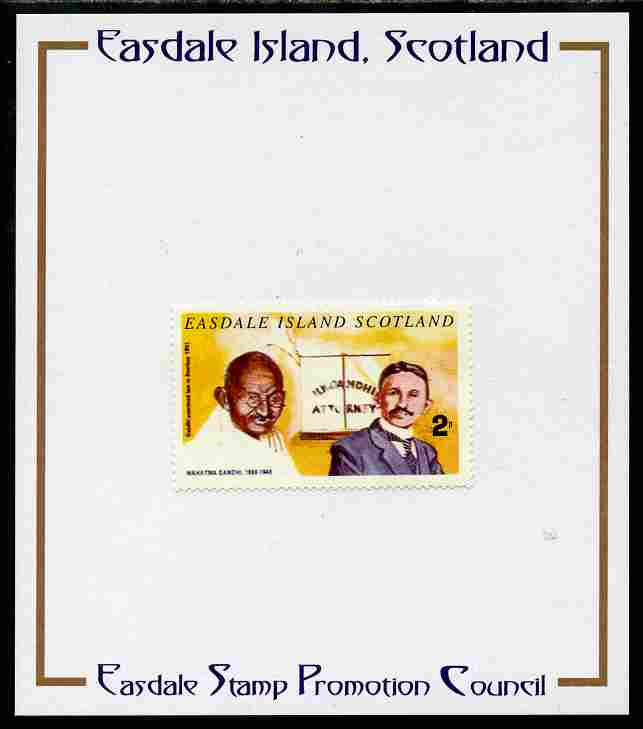 Easdale 1996 Gandhi 2p stamp of Gandhi as Law Student mounted on Publicity proof card issued by the Easdale Stamp Promotion Council