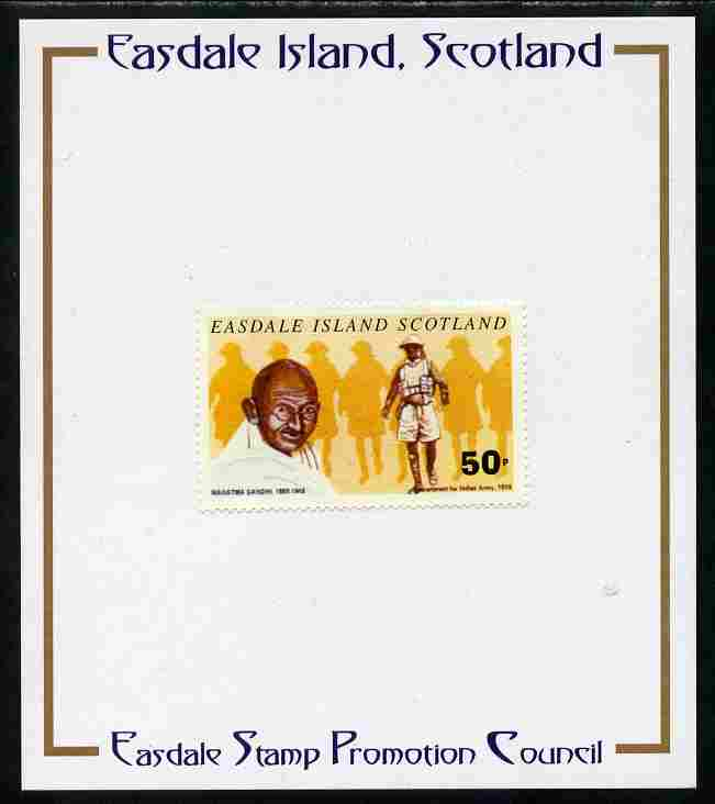Easdale 1996 Gandhi 50p stamp of Gandhi Recruitment for Indian Army mounted on Publicity proof card issued by the Easdale Stamp Promotion Council