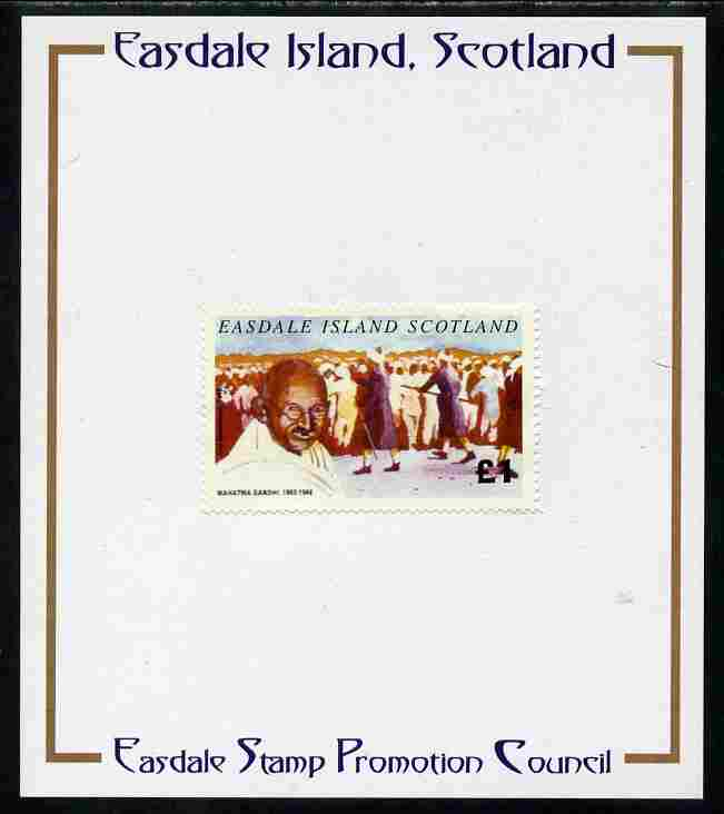 Easdale 1996 Gandhi \A31 stamp of Gandhi & Civil Disobedience mounted on Publicity proof card issued by the Easdale Stamp Promotion Council
