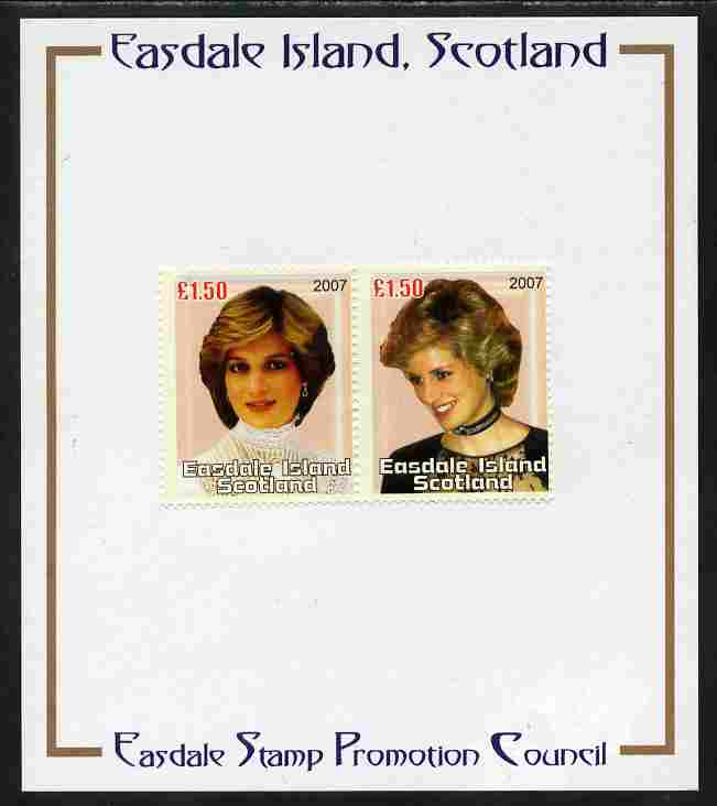 Easdale 2007 Princess Diana \A31.50 #1 perf se-tenant pair mounted on Publicity proof card issued by the Easdale Stamp Promotion Council