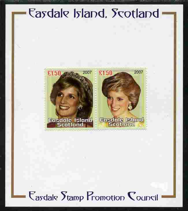 Easdale 2007 Princess Diana \A31.50 #2 perf se-tenant pair mounted on Publicity proof card issued by the Easdale Stamp Promotion Council