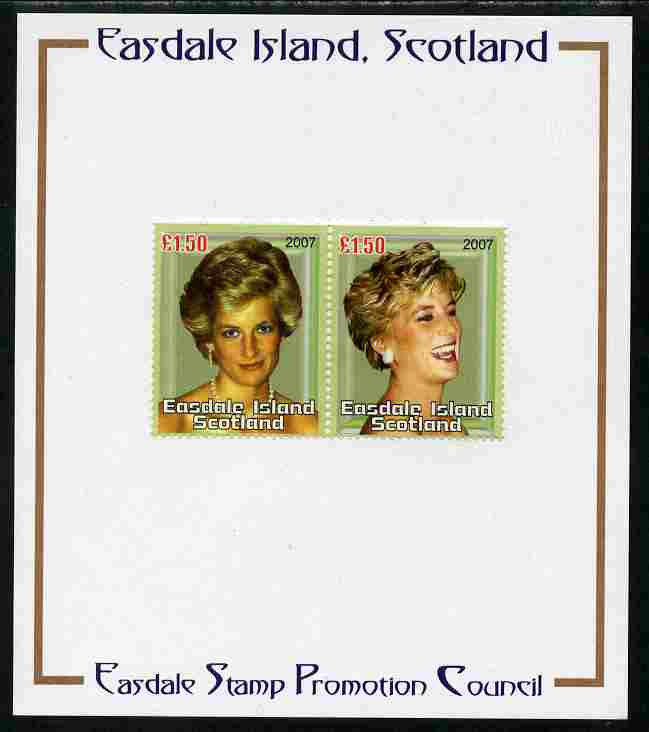 Easdale 2007 Princess Diana \A31.50 #4 perf se-tenant pair mounted on Publicity proof card issued by the Easdale Stamp Promotion Council