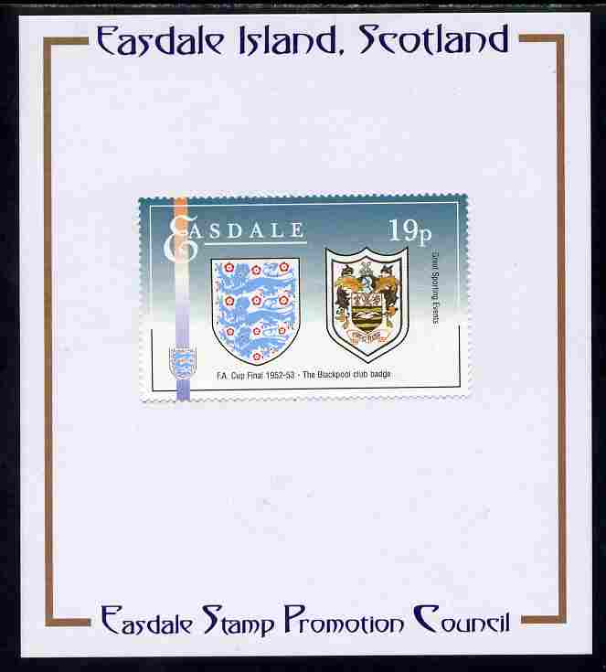 Easdale 1996 Great Sporting Events - Football 19p - Blackpool Club Badge Winners of 1952-53 FA Cup Final mounted on Publicity proof card issued by the Easdale Stamp Promotion Council