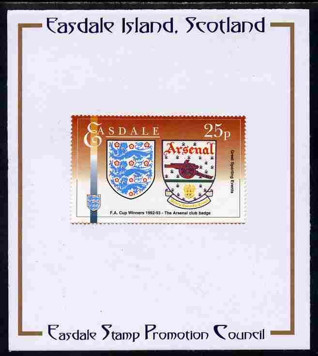 Easdale 1996 Great Sporting Events - Football 25p - Arsenal Club Badge Winners of 1992-93 FA Cup Final mounted on Publicity proof card issued by the Easdale Stamp Promotion Council