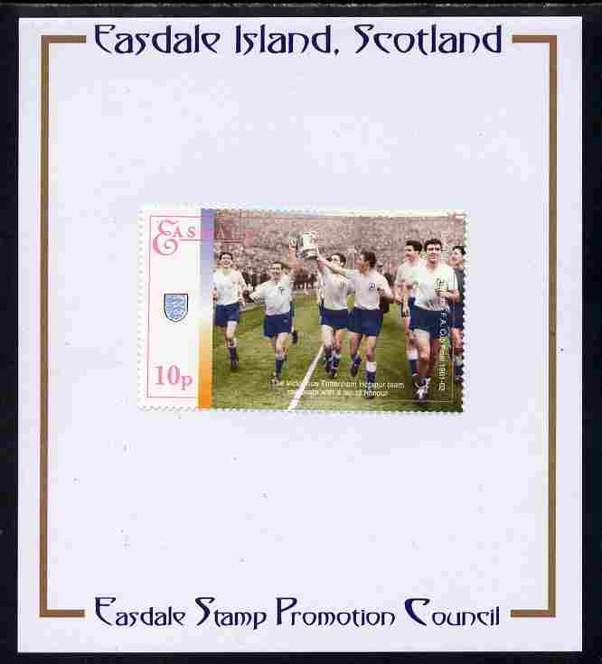 Easdale 1996 Great Sporting Events - Football 10p - Tottenham Hotspur Winners of 1961-62 FA Cup Final mounted on Publicity proof card issued by the Easdale Stamp Promotion Council