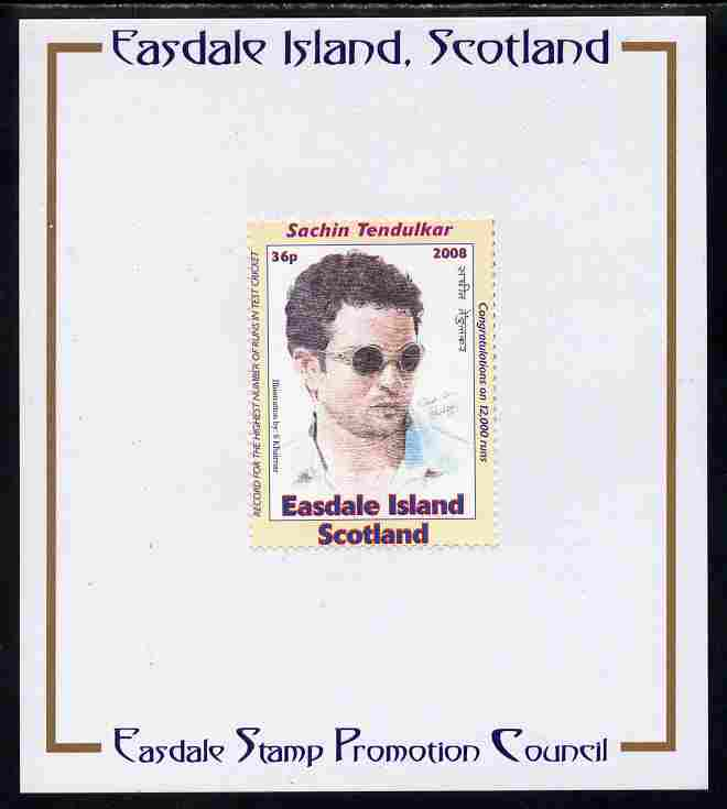 Easdale 2008 Sachin Tendulkar (cricketer) 36p (with sun glasses - white border) mounted on Publicity proof card issued by the Easdale Stamp Promotion Council