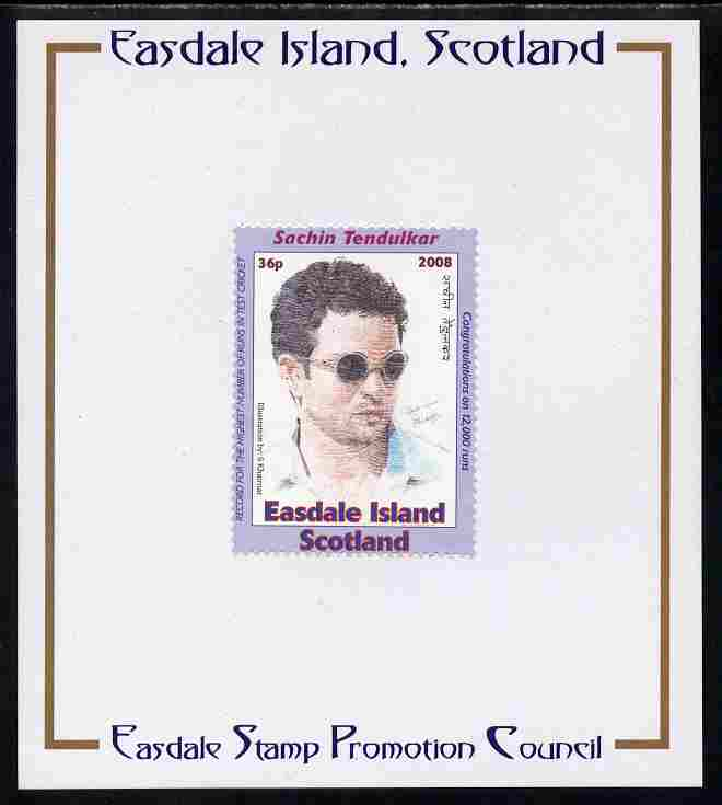 Easdale 2008 Sachin Tendulkar (cricketer) 36p (with sun glasses - blue border) mounted on Publicity proof card issued by the Easdale Stamp Promotion Council