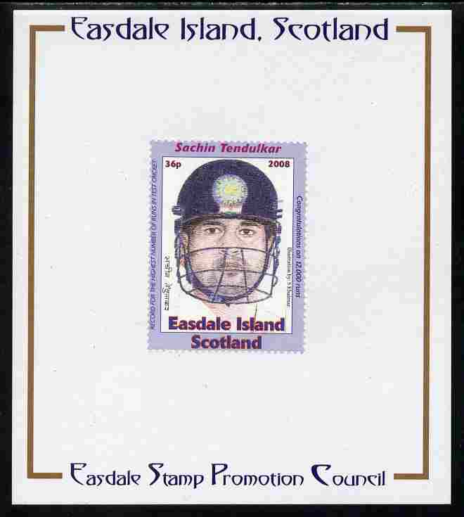 Easdale 2008 Sachin Tendulkar (cricketer) 36p (with helmet - blue border) mounted on Publicity proof card issued by the Easdale Stamp Promotion Council