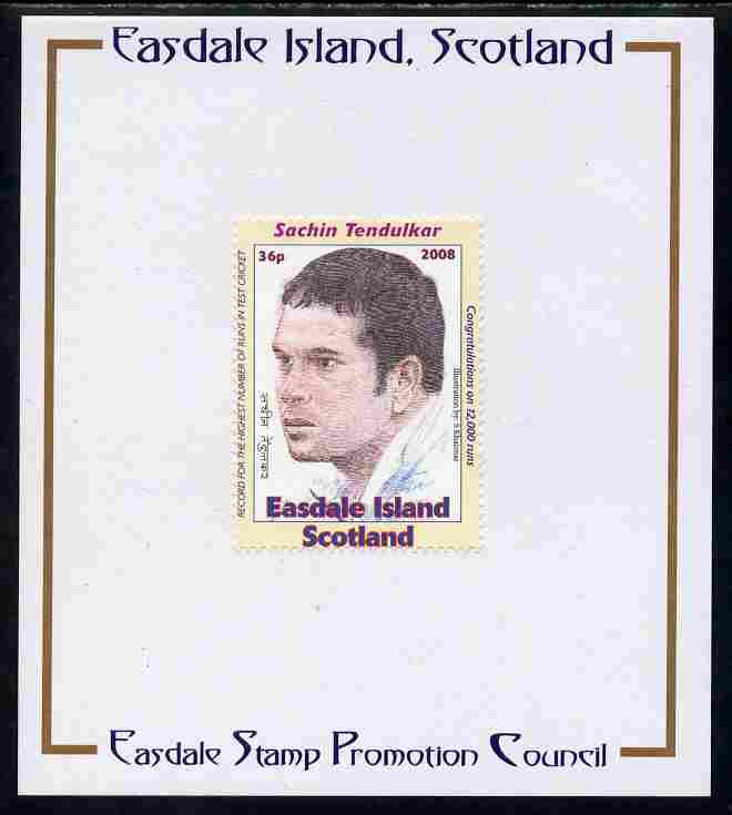 Easdale 2008 Sachin Tendulkar (cricketer) 36p (looking to left - white border) mounted on Publicity proof card issued by the Easdale Stamp Promotion Council
