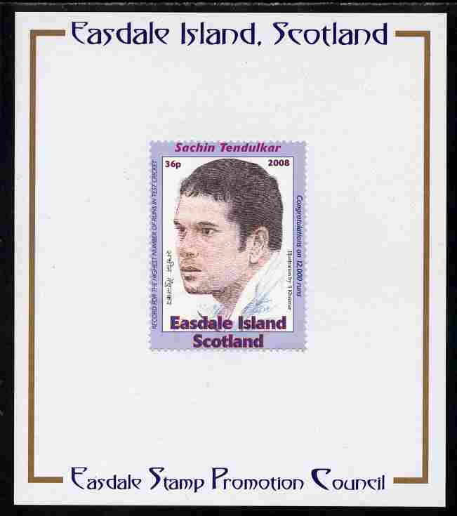 Easdale 2008 Sachin Tendulkar (cricketer) 36p (looking to left - blue border) mounted on Publicity proof card issued by the Easdale Stamp Promotion Council