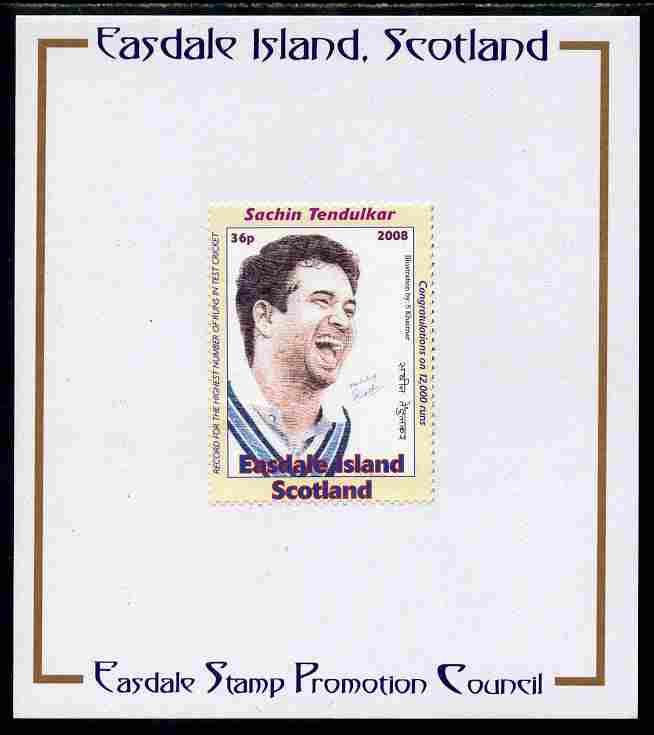 Easdale 2008 Sachin Tendulkar (cricketer) 36p (looking to right - white border) mounted on Publicity proof card issued by the Easdale Stamp Promotion Council