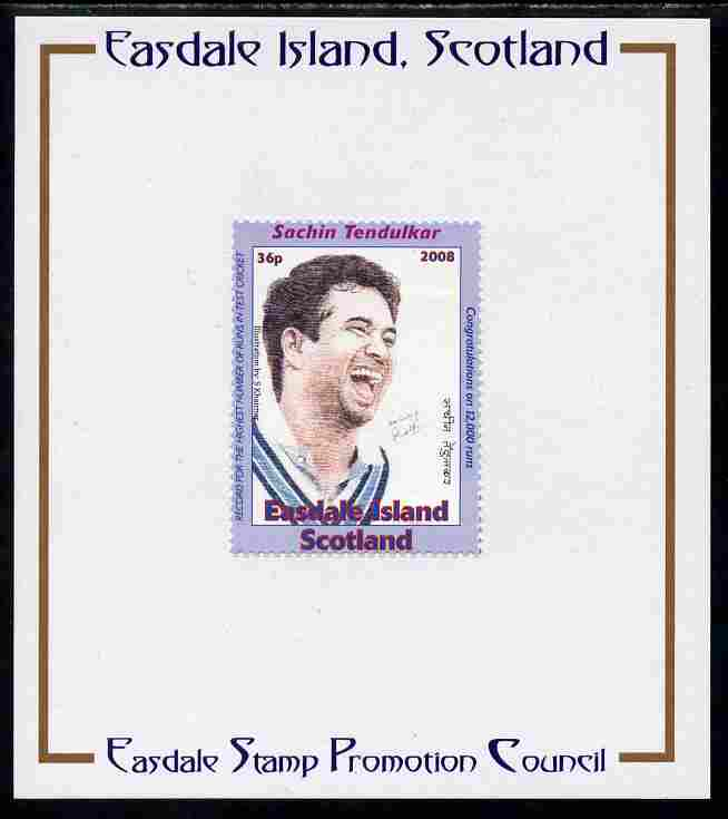 Easdale 2008 Sachin Tendulkar (cricketer) 36p (looking to right - blue border) mounted on Publicity proof card issued by the Easdale Stamp Promotion Council