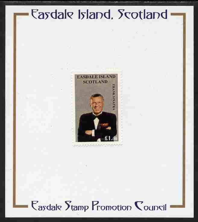 Easdale 1998 Frank Sinatra \A31 value (grey background) mounted on Publicity proof card issued by the Easdale Stamp Promotion Council