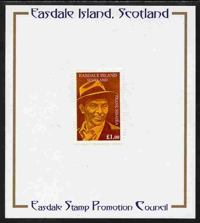 Easdale 1998 Frank Sinatra \A31 value (brown background) mounted on Publicity proof card issued by the Easdale Stamp Promotion Council