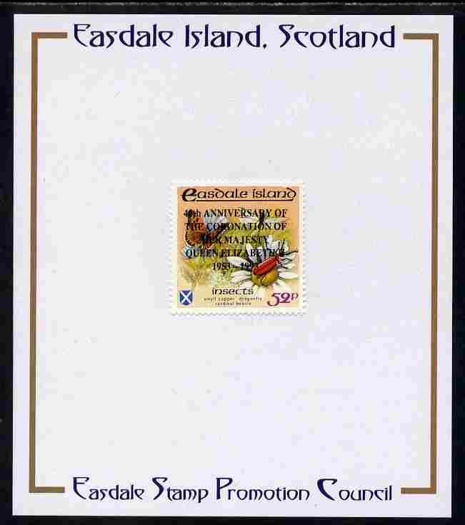 Easdale 1993 40th Anniversary of Coronation overprinted in black on Flora & Fauna perf 52p (Butterfly & Insects) mounted on Publicity proof card issued by the Easdale Stamp Promotion Council