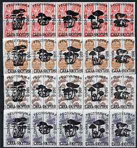 Sakha (Yakutia) Republic - Fungi opt set of 20 values each design opt'd on block of 4 Russian defs (Total 80 stamps) unmounted mint