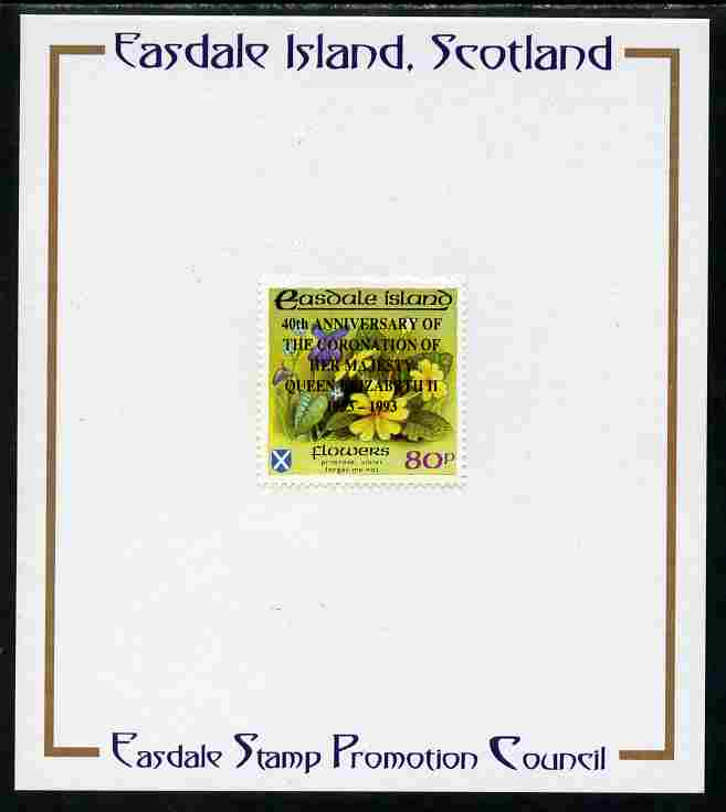 Easdale 1993 40th Anniversary of Coronation overprinted in black on Flora & Fauna perf 80p (Flowers) mounted on Publicity proof card issued by the Easdale Stamp Promotion Council