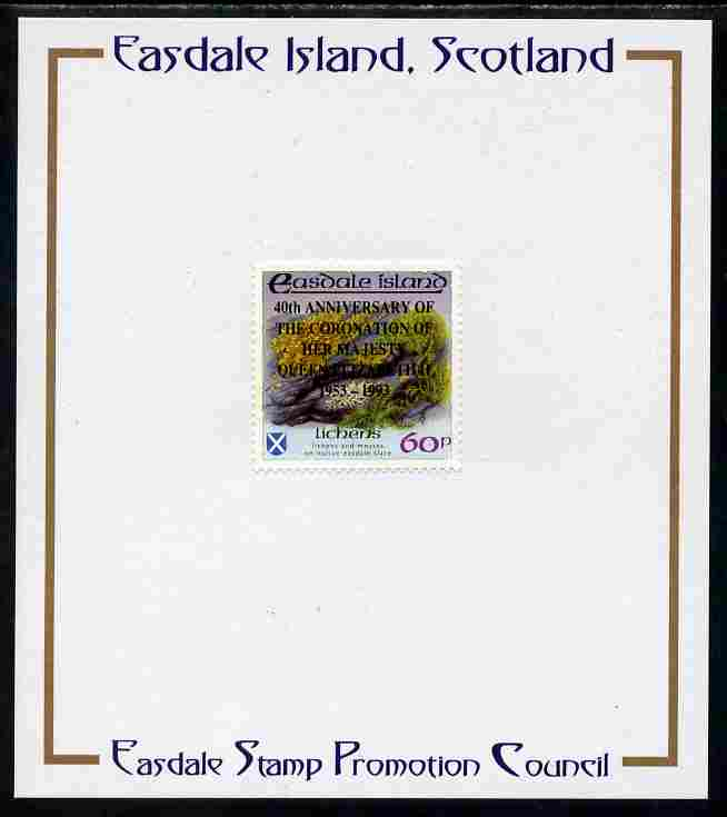 Easdale 1993 40th Anniversary of Coronation overprinted in black on Flora & Fauna perf 60p (Lichens) mounted on Publicity proof card issued by the Easdale Stamp Promotion Council , stamps on royalty, stamps on coronation, stamps on lichens