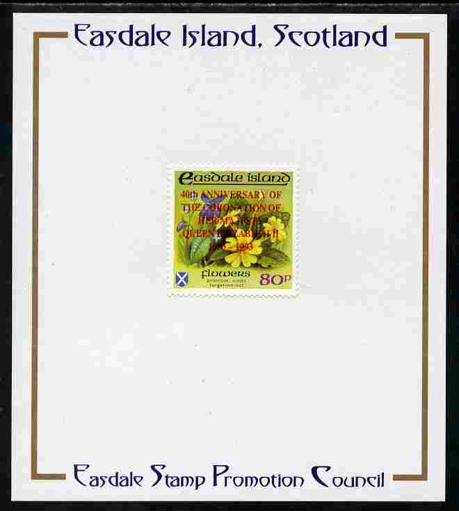 Easdale 1993 40th Anniversary of Coronation overprinted in red on Flora & Fauna perf 80p (Flowers) mounted on Publicity proof card issued by the Easdale Stamp Promotion Council