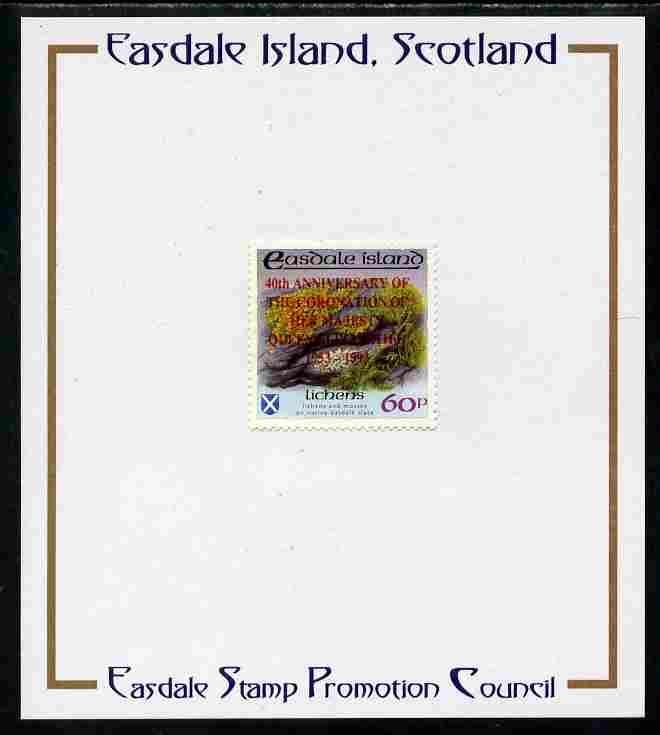 Easdale 1993 40th Anniversary of Coronation overprinted in red on Flora & Fauna perf 60p (Lichens) mounted on Publicity proof card issued by the Easdale Stamp Promotion Council