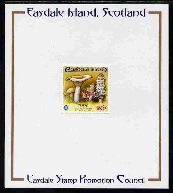 Easdale 1988 Flora & Fauna perf definitive 26p (Fungi) mounted on Publicity proof card issued by the Easdale Stamp Promotion Council