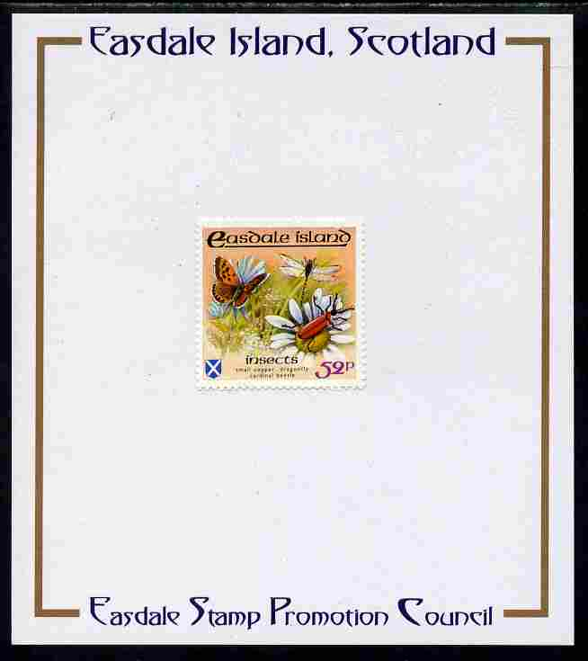 Easdale 1988 Flora & Fauna perf definitive 52p (Butterfly & Insects) mounted on Publicity proof card issued by the Easdale Stamp Promotion Council