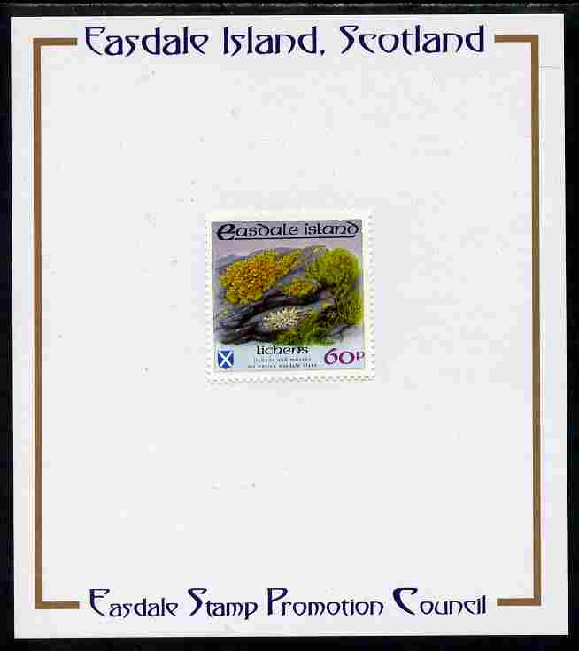 Easdale 1988 Flora & Fauna perf definitive 60p (Lichens) mounted on Publicity proof card issued by the Easdale Stamp Promotion Council