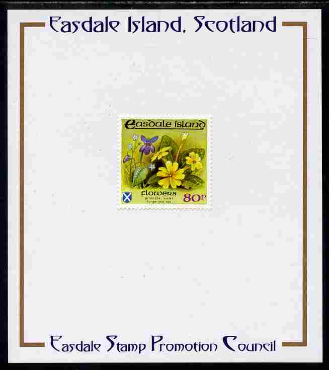 Easdale 1988 Flora & Fauna perf definitive 80p (Flowers) mounted on Publicity proof card issued by the Easdale Stamp Promotion Council
