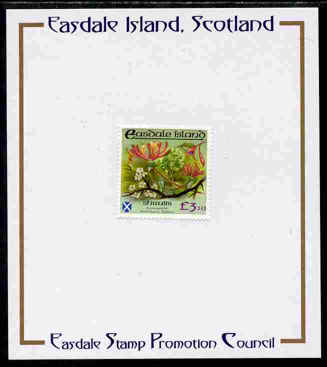 Easdale 1988 Flora & Fauna perf definitive \A33.10 (Shrubs) mounted on Publicity proof card issued by the Easdale Stamp Promotion Council
