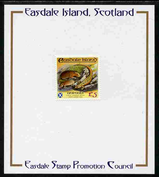 Easdale 1988 Flora & Fauna perf definitive \A35 (Animals) mounted on Publicity proof card issued by the Easdale Stamp Promotion Council