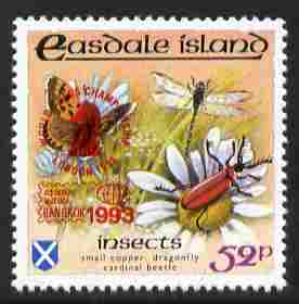 Easdale 1993 World Chess Championships overprinted in red on Flora & Fauna perf 52p (Butterfly & Insects) unmounted mint