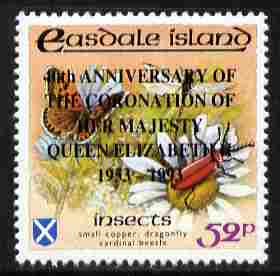 Easdale 1993 40th Anniversary of Coronation overprinted in black on Flora & Fauna perf 52p (Butterfly & Insects) unmounted mint