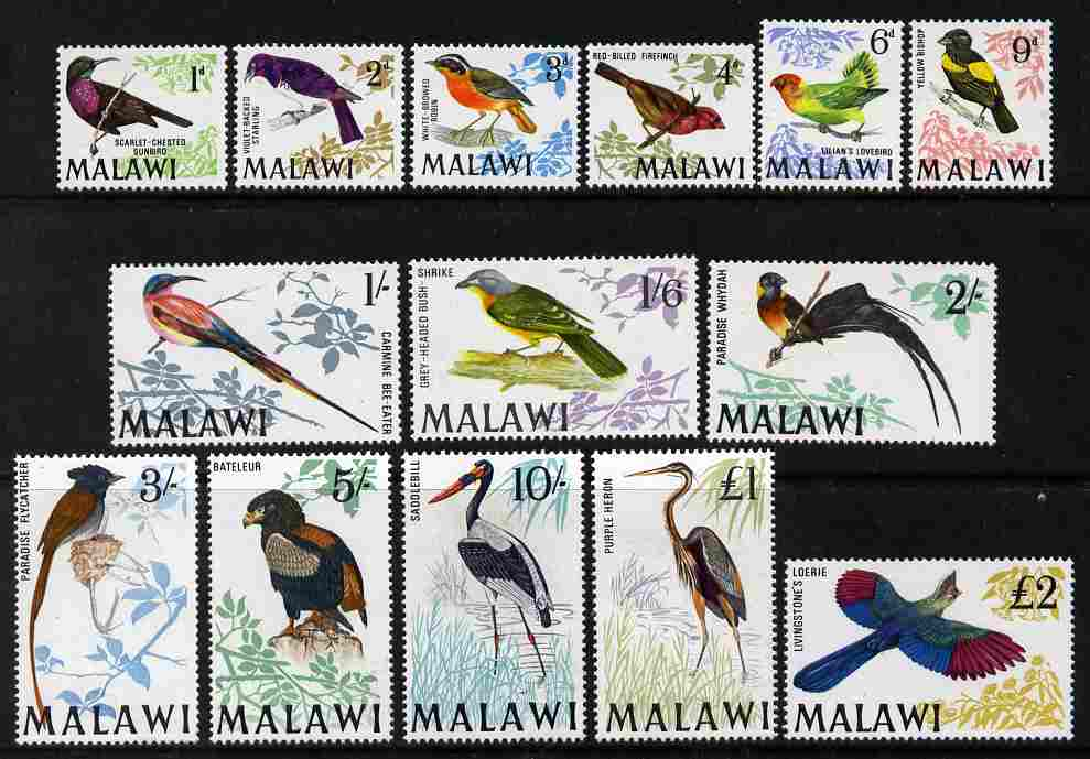 Malawi 1968 Birds defintive set complete to \A32 - 14 values unmounted mint SG 310-23