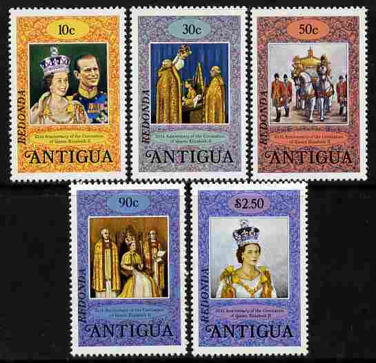 Antigua - Redonda 1978 Coronation 25th Anniversary perf 14 set of 5 overprinted for use in Redonda unmounted mint, stamps on royalty, stamps on coronation