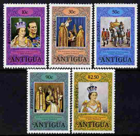 Antigua - Redonda 1978 Coronation 25th Anniversary perf 12 set of 5 in alternative colours overprinted for use in Redonda unmounted mint