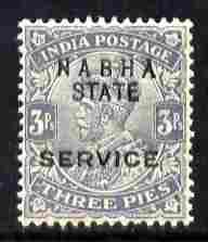 Indian States - Nabha 1913 Official KG5 3p grey overprinted SERVICE unmounted mint SG O39
