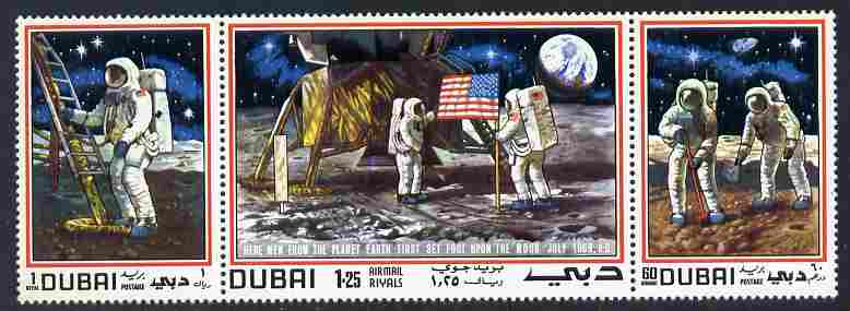 Dubai 1969 Man on the Moon se-tenant strip of 3 unmounted mint SG 346a
