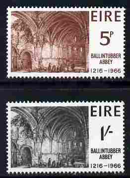 Ireland 1966 700th Anniversary of Ballintubber Abbay set of 2 unmounted mint SG 225-6, stamps on cathedrals, stamps on religion, stamps on abbeys