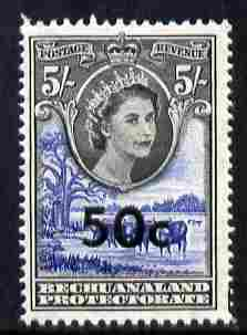 Bechuanaland 1961 Decimal Surcharge 50c on 5s (BaoBab Tree & Cattle) unmounted mint SG 166
