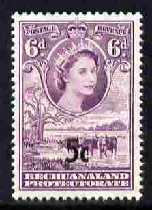 Bechuanaland 1961 Decimal Surcharge 5c on 6d type II (BaoBab Tree & Cattle) unmounted mint SG 162a