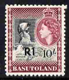 Basutoland 1961 Decimal Surcharge 1R on 10s type III (Mohair) unmounted mint SG 68b