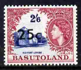 Basutoland 1961 Decimal Surcharge 25c on 2s6d type I (Fort Leribe) unmounted mint SG 66