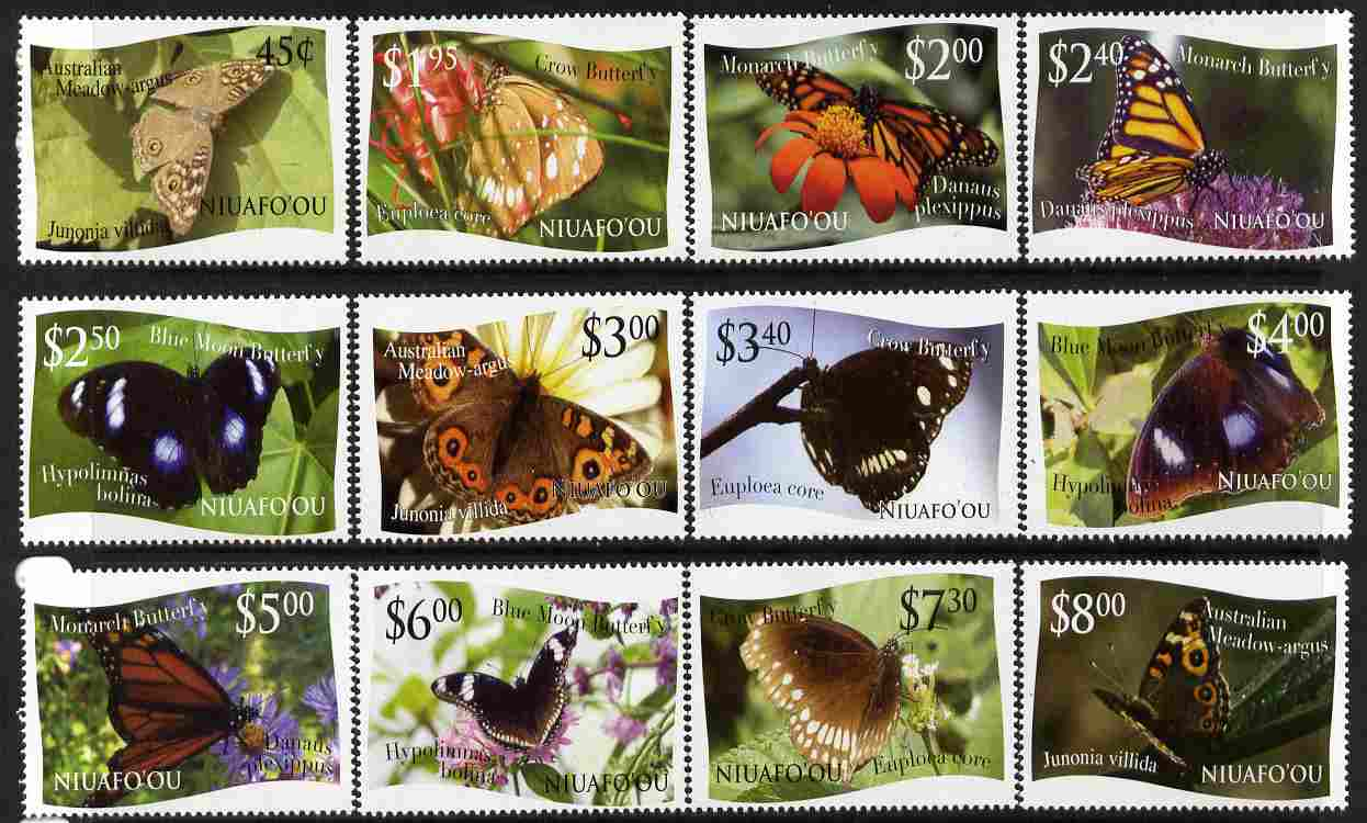 Tonga - Niuafo'ou 2012 Butterflies #1 perf set of 12 values (white background) unmounted mint