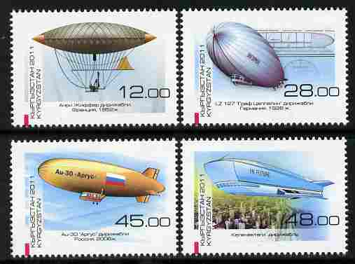 Kyrgyzstan 2011 Development of Airships perf set of 4 unmounted mint