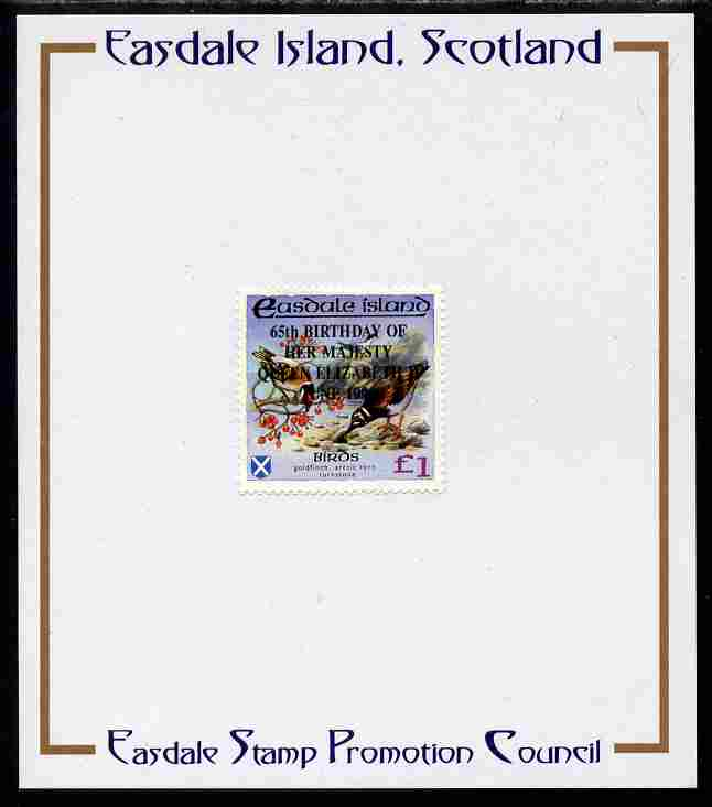 Easdale 1991 65th Birthday of Queen Elizabeth overprinted in black on Flora & Fauna perf definitive \A31 (Birds) mounted on Publicity proof card issued by the Easdale Stamp Promotion Council