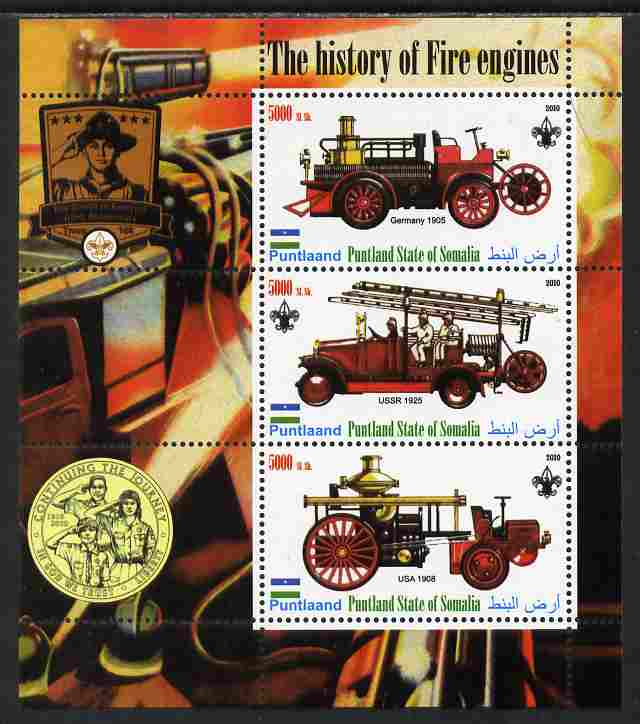 Puntland State of Somalia 2010 History of Fire Engines #1 (with Scout Logo) perf sheetlet containing 3 values unmounted mint, stamps on fire, stamps on scouts