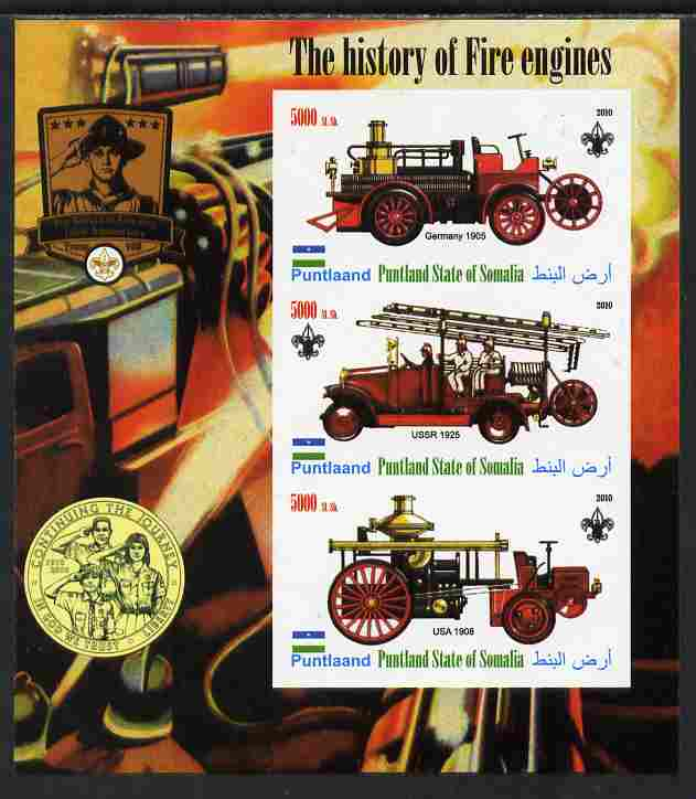 Puntland State of Somalia 2010 History of Fire Engines #1 (with Scout Logo) imperf sheetlet containing 3 values unmounted mint