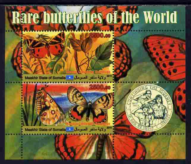 Maakhir State of Somalia 2011 Rare Butterflies #1 (with Scout Badge) perf sheetlet containing 2 values unmounted mint
